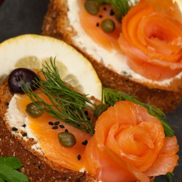 Lemon Caper Smoked Salmon Crostini